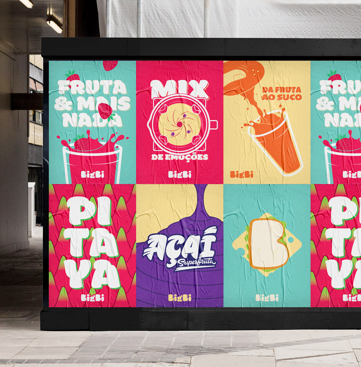 Bigbi Burgers, Sandwiches and Fruit Smoothies Colorful Restaurant Food Branding