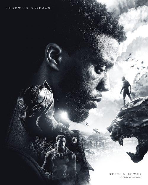 Disney Marvel Black Panther Tribute to Chadwick Boseman Black and White Digital Collage Photo Ma ...