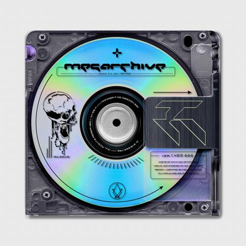 Meg Archive Vaporwave Cyberpunk CD Cover Disc Design Iridescent Skull
