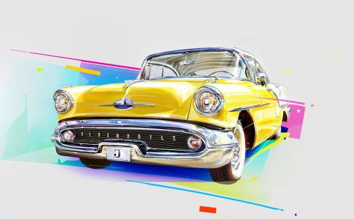 Vibrant Retro Classic Vintage Illustrated Digital Art Painting Model Cars Automobiles