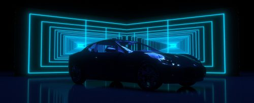MASERATI GHIBLI Chrome Glitch Gradient Map Electricity Distortion Blend Style Frames Neon Automo ...