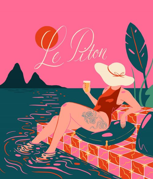 Illustrations by Monique Aimee – Le Piton Pool Sea Side Water Floral Script Font Typeface