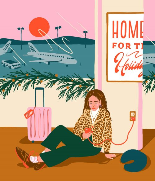 Illustrations by Monique Aimee – Airport Air travel home for the holidays