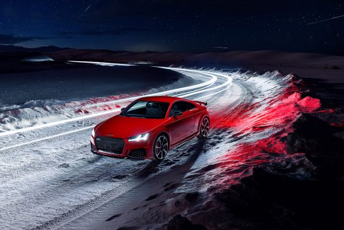 2020 Red Audi TT RS Sports Car – The Speed of Light – White Sands National Park Mete ...