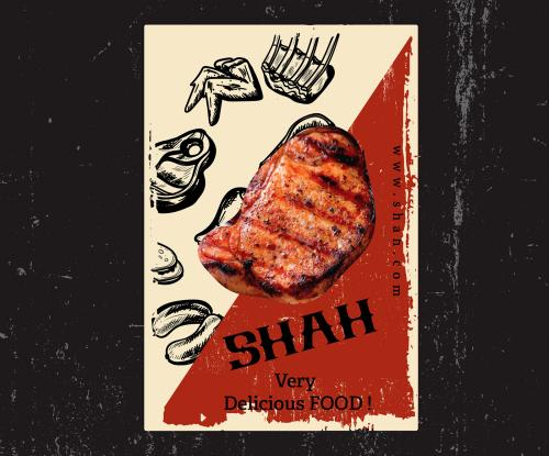 Shah Asian Food Meat Restaurant vector brand identity branding design