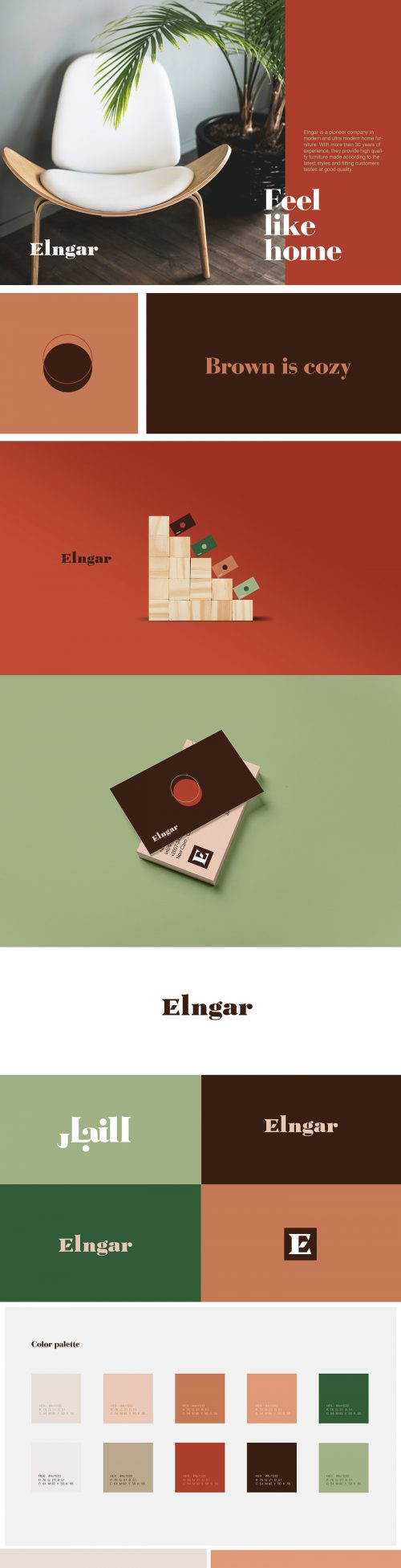 Elngar Furniture Brand Identity Branding Layout Design