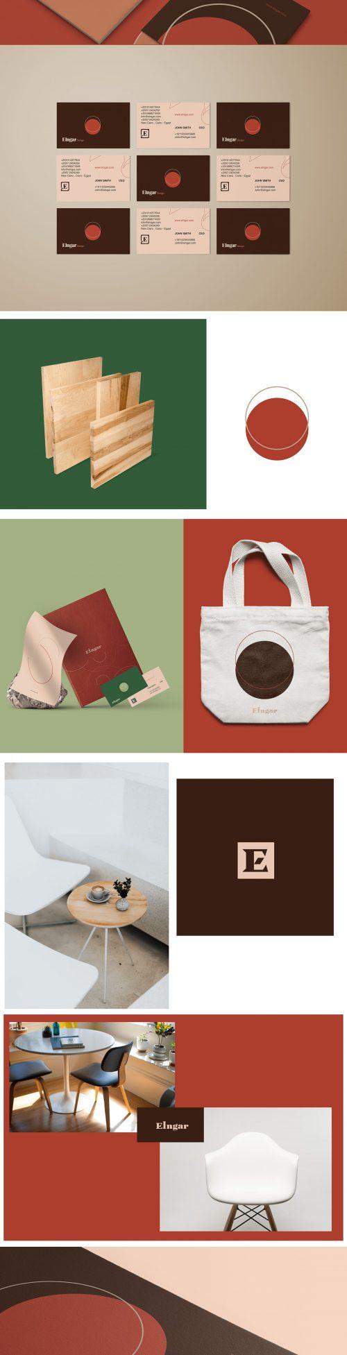 Elngar Furniture Brand Identity Branding Layout Design