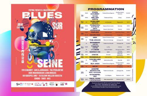 Blues Sur Seine Music CD Concert Festival Poster Branding identity Gradient Design