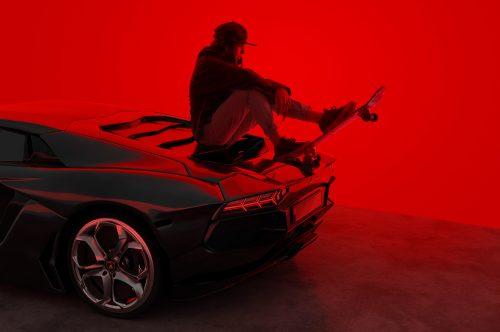 Lamborghini Ride Red Room CGI Blender 3D Photography Skateboard