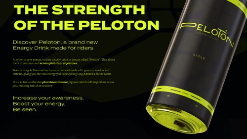 Peloton Energy Drink Brutalist Futuristic Beverage Graphic Design