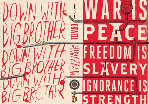Novel Book Art Jacket Cover Design Story Editorial Magazine 1984 Down with Big Brother War is Pe ...