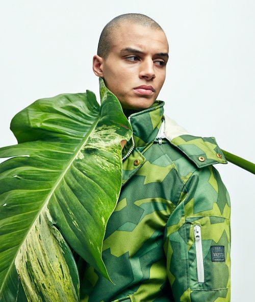 Black Rainbow Magazine, Camo series fashion editorial photography look book palm