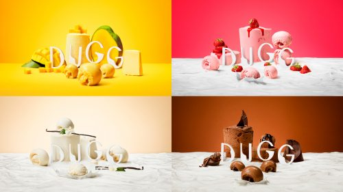 DUGG from Hennig-Olsen Ice Cream frozen yogurt sorbet food brand photography branding