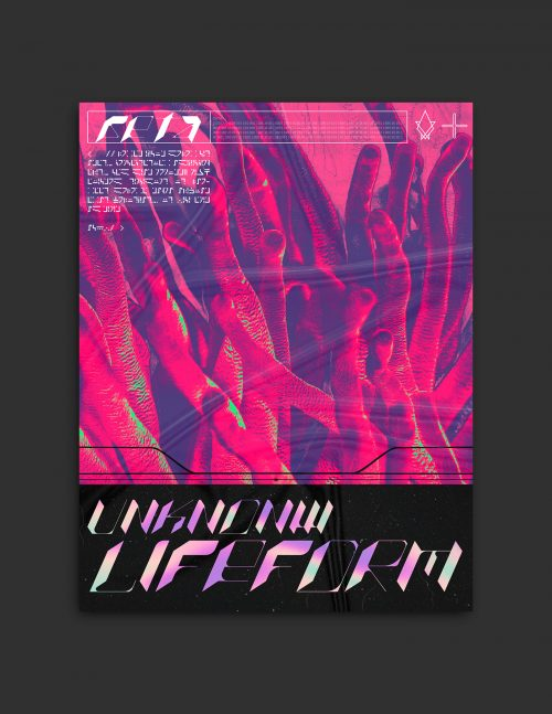 Abstract Cyberpunk Gothic Inspired Space Alien Magazine Poster Collection – unknown lifeform