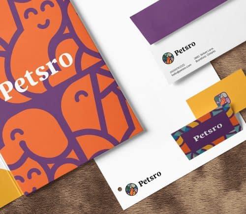 Petsro pet company brand identity design branding vector art cat dog