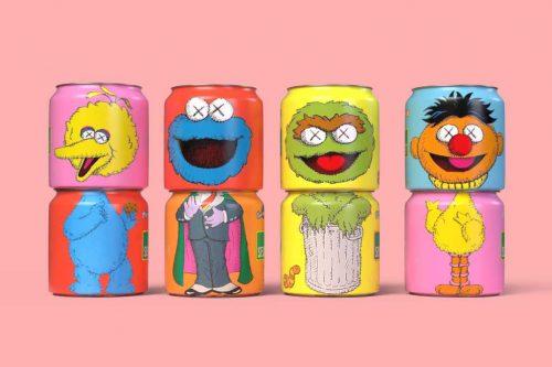 Sesame Street x Kaws Uniqlo Soda Pop Cans Characters Illustration Branding