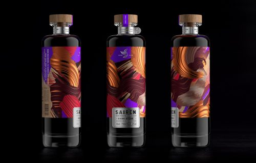 SAIREN Clear Spiced Rum Alcohol Branding and Packaging Design