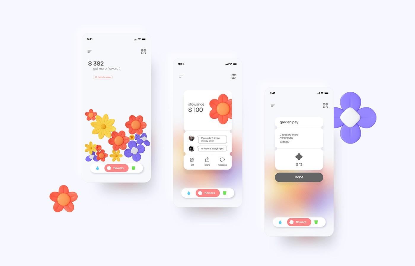 Garden cultivate your budget UX UI ios app design