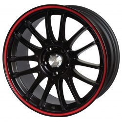 AU AU-457 18x9 Matt Black with Red Pinstripe