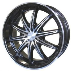 G2 G2-183 17x7 Gloss Black with Machine Face and Pinstripe