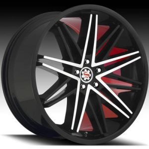 Scarlet SW-1 22x8 Matt Black Machined with Scarlet Inner Lip