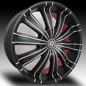 Scarlet SW-6 22x8 Matt Black Machined with Scarlet Inner Lip