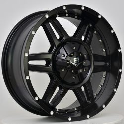V8 V-11 17x8 Matt Black with Machined Rivets