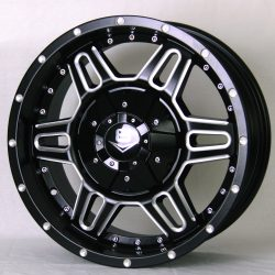 V8 V-11 17x8 Matt Black with Machined Rivets and Milling