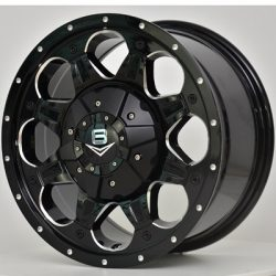 V8 V-7 17x8 Matt Black with Machined Rivets and Milling