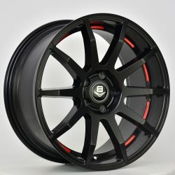 V8 V-41 18x8.5 Matt Black with Red Undercut Circle