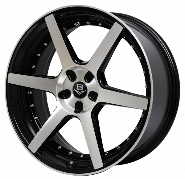 V8 V-61A 20x8.5 Gloss Black with Machine Face