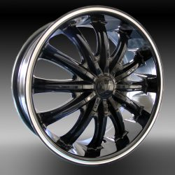 Velocity VW-002 17x7 Gloss Black with Machine Pinstripe