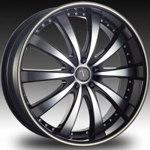 Velocity VW-008A 22x8.5 Gloss Black with Machine Face and Pinstripe