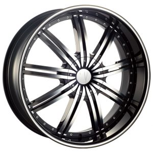 Velocity VW-118 24x9.5 Gloss Black with Machine Face and Pinstripe