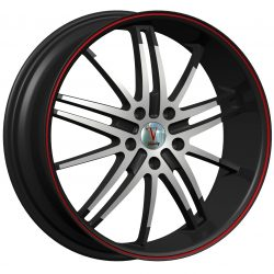 Velocity VW-910 22x9.5 Gloss Black with Machine Face and Red Pinstripe