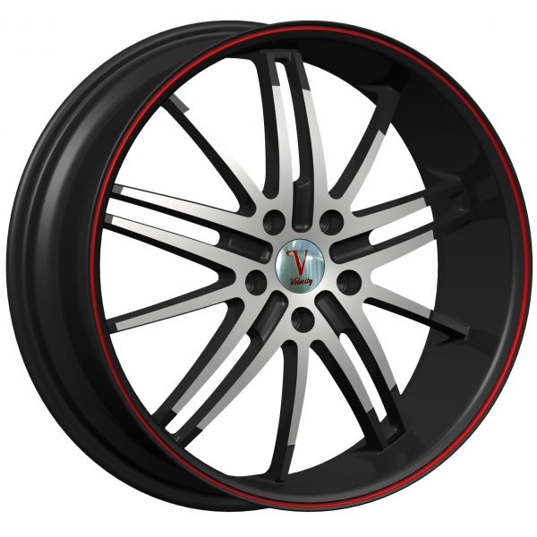 Velocity VW-910 20x7.5 Gloss Black with Machine Face and Red Pinstripe