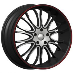 Velocity VW-920 20x7.5 Gloss Black with Machine Face and Red Pinstripe