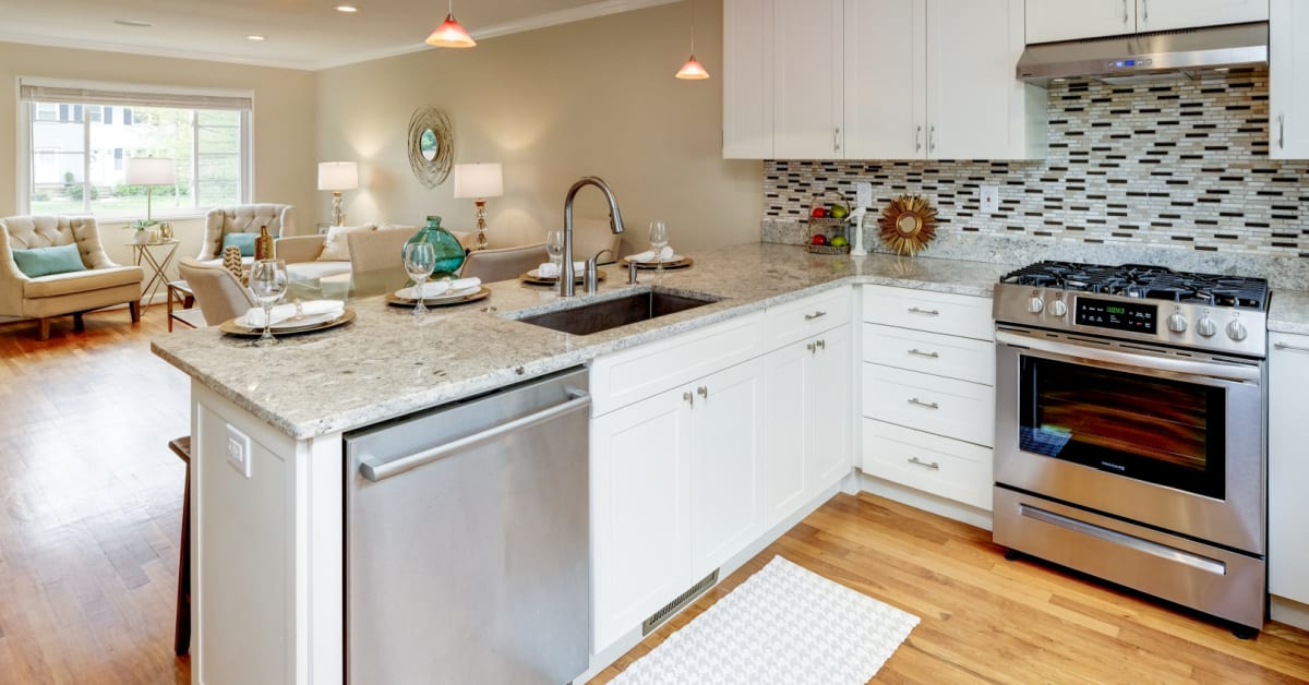 Updated Kitchen and living room of 1747 N. Cliff Street in Alexandria VA