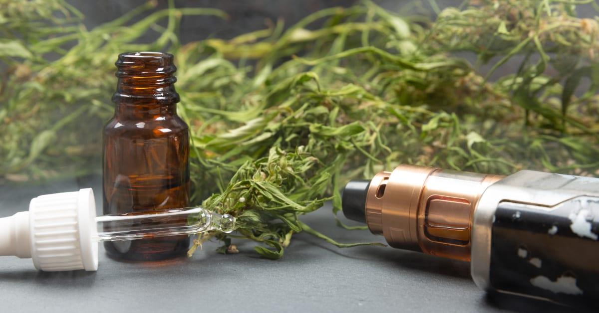 Vape pen and medical marijuana hemp bud. CBD and THC oil vaping products. (Photo licensed to Zebra via Adobe Stock)