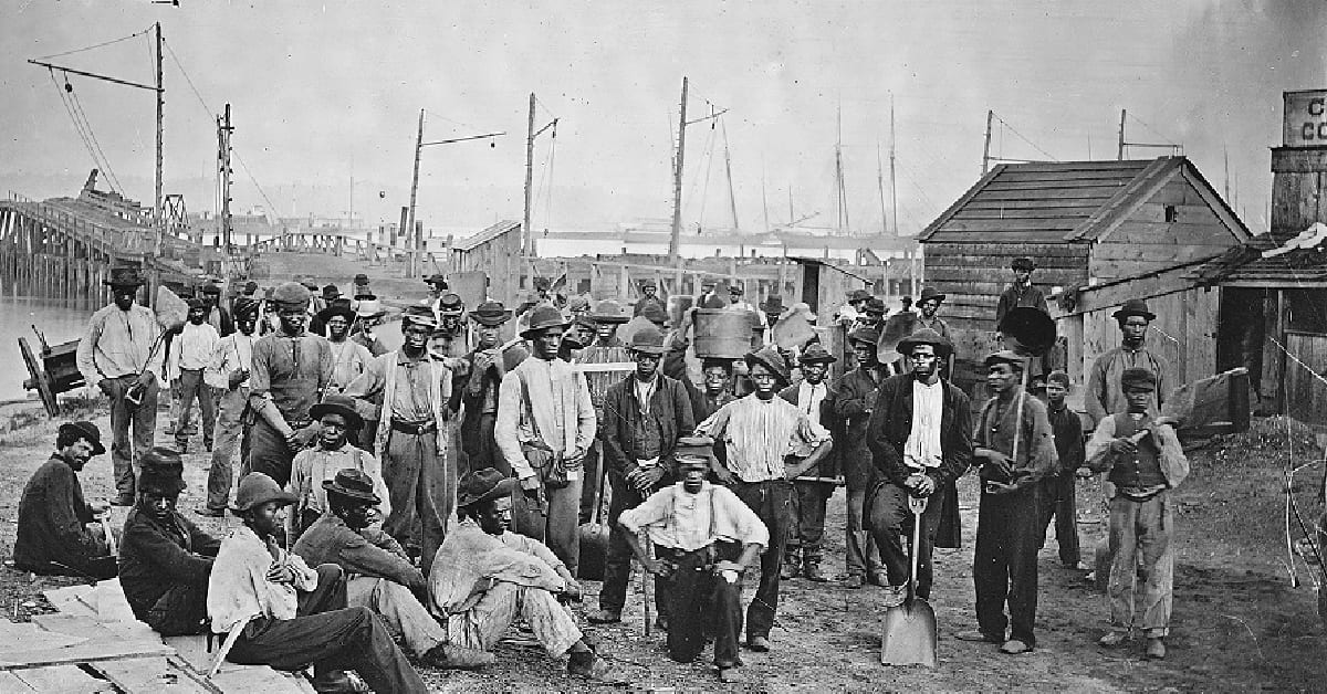 Negro Laborers at Alexandria, near Coal Wharf, ca. 1860-1865, by Mathew Brady. (Courtesy, National Archives and Records Administration, 524820)