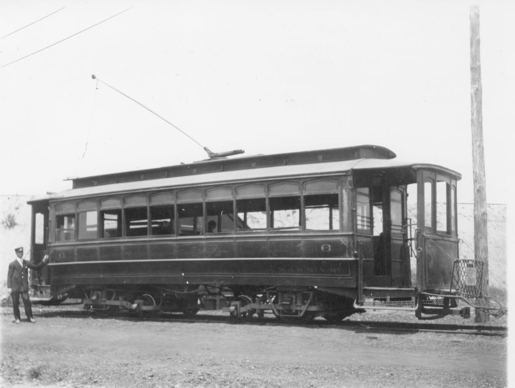 Car 303 was part of a new fleet of art deco cars added to the Mount Vernon Alexandria & Washington Electric Railway in 1918. (Photo: Town of Potomac Historical Association)