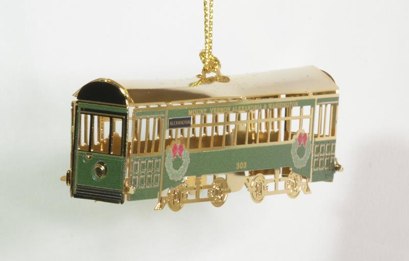 Alexandria, Virginia's 2021 trolley ornament honors the railway which one connect commuters between Del Ray and Mount Vernon. (Photo: City of Alexandria)