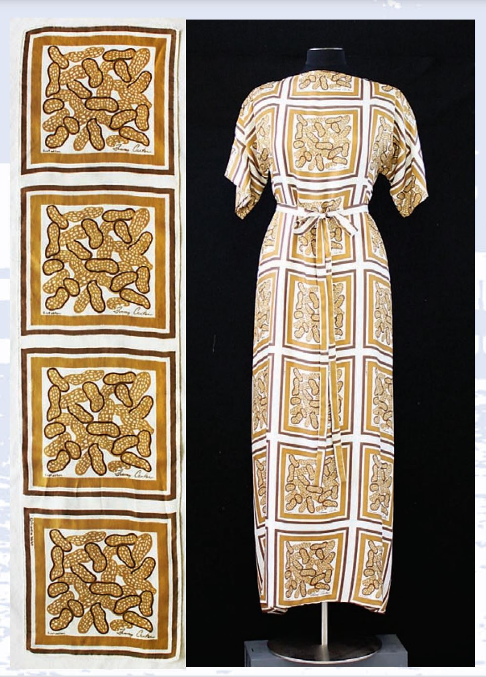 Frankie Welch peanut-themed scarf and dress designed for Rosalyn Carter. (Courtesy event)