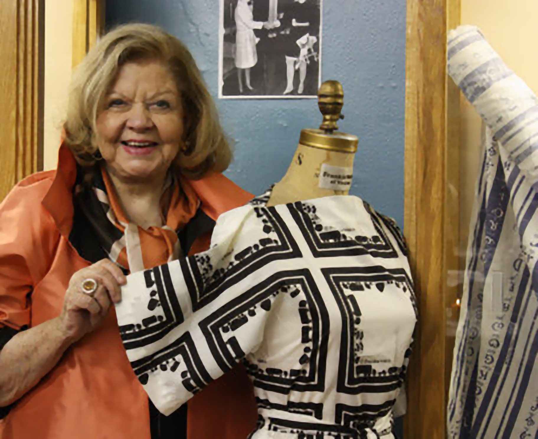 Frankie Welch with one of her Cherokee designs. Welch's designs are also inspired by her Cherokee heritage. One of her most well-known patterns features the Cherokee alphabet. Welch explained in a 1968 feature article that she had always been fascinated by the Cherokee syllabary. The beautiful designs of the letters soon covered her scarves and dresses. (Courtesy photo)