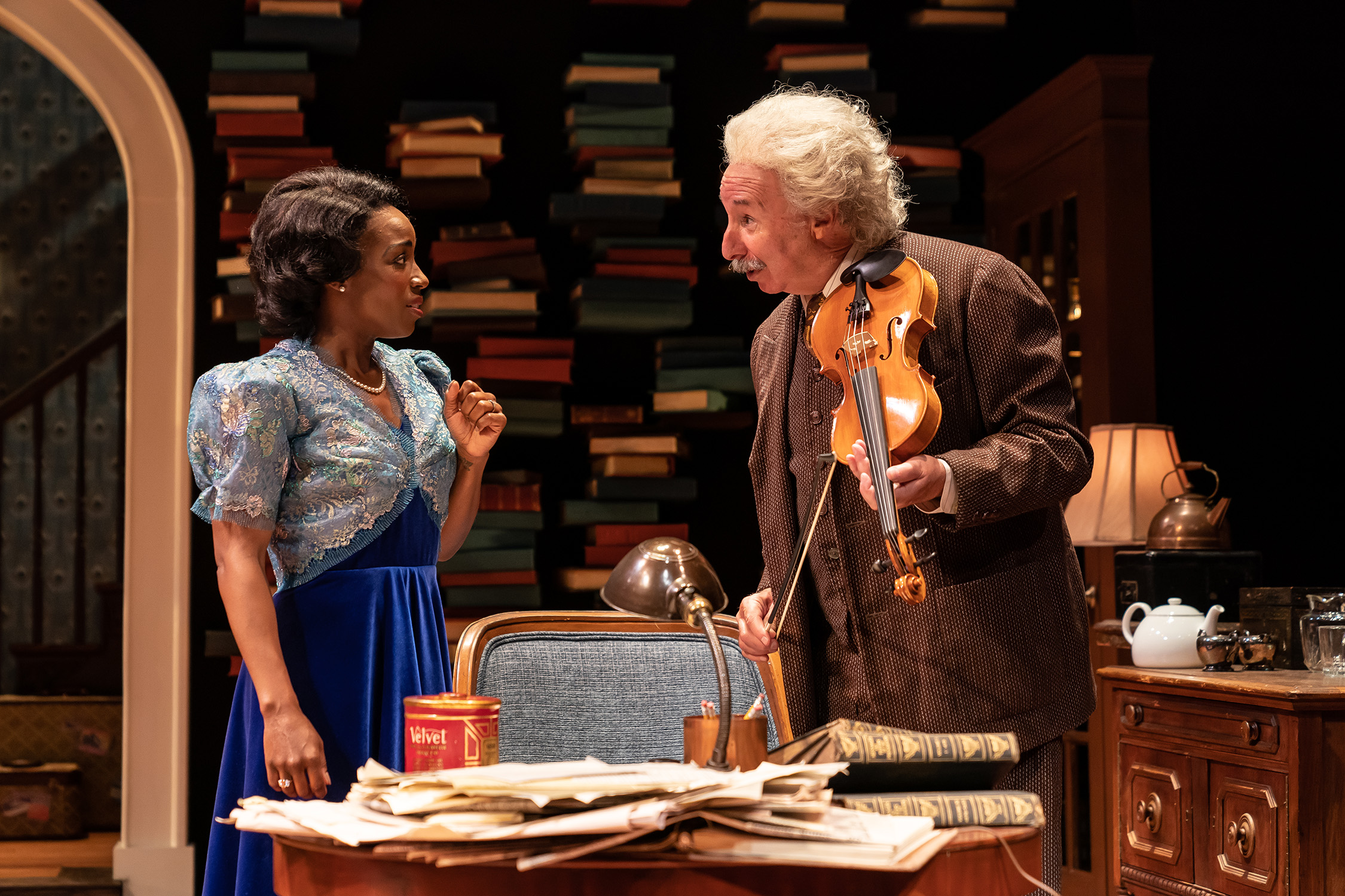 """Felicia Curry as Marian Anderson and Christopher Bloch as Albert Einstein in the Ford's Theatre production of Deborah Brevoort's """"My Lord, What a Night"""" directed by Sheldon Epps. (Photo by Scott Suchman)."""