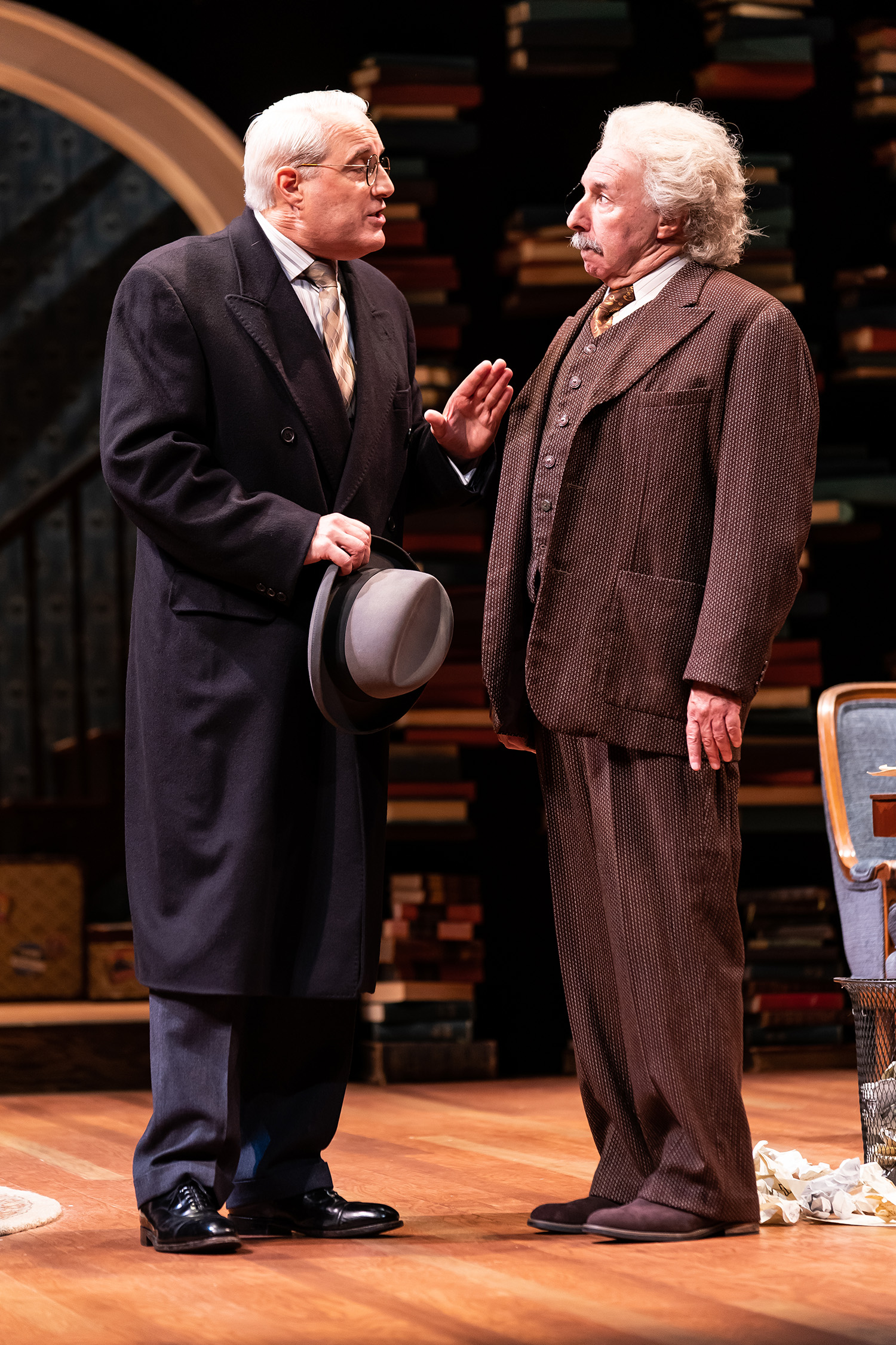 """Michael Russotto as Abraham Flexner and Christopher Bloch as Albert Einstein in the Ford's Theatre production of Deborah Brevoort's """"My Lord, What a Night"""". (Photo by Scott Suchman)"""
