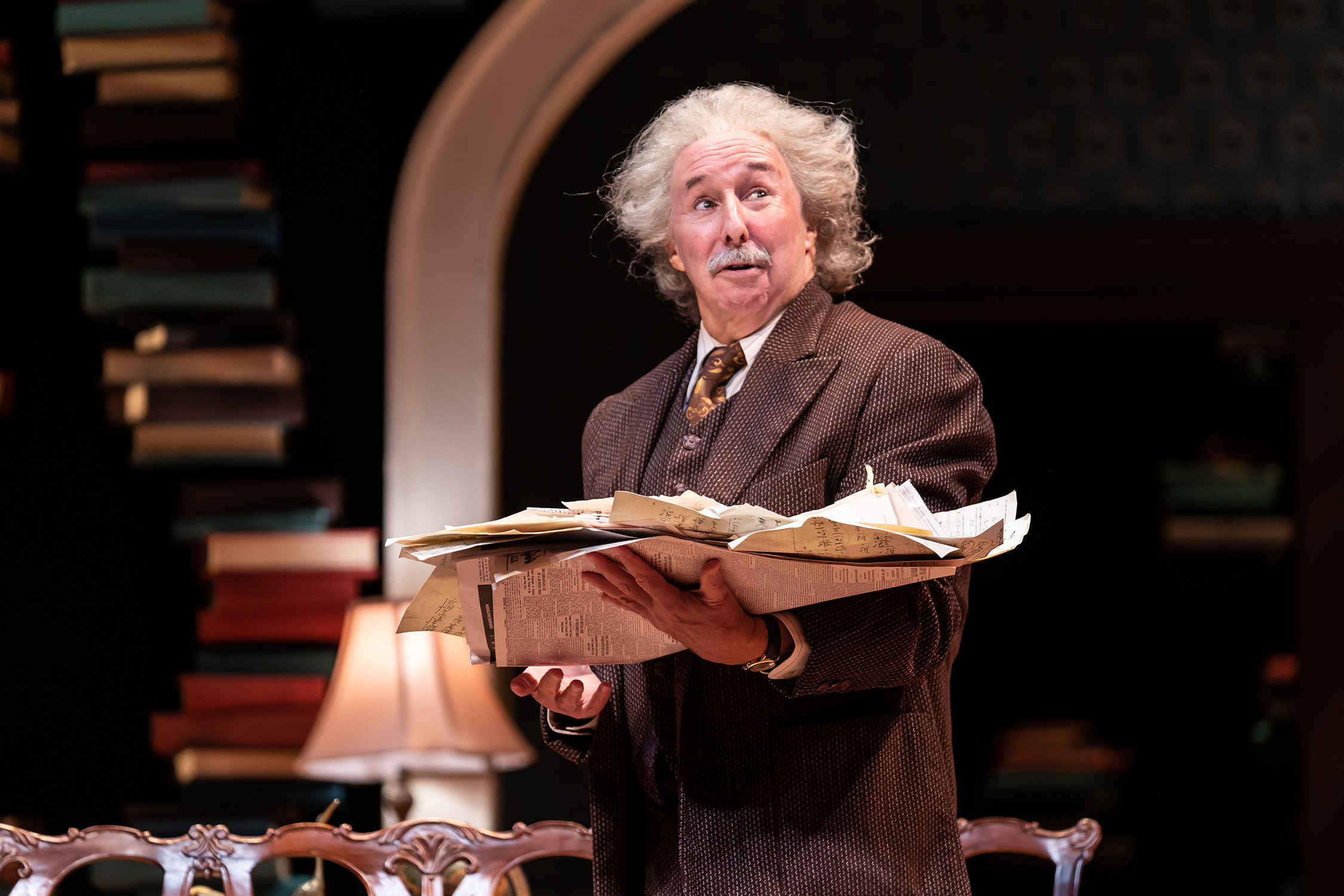 """Christopher Bloch as Albert Einstein in the Ford's Theatre production of Deborah Brevoort's """"My Lord, What a Night"""". Photo by (Scott Suchman)."""