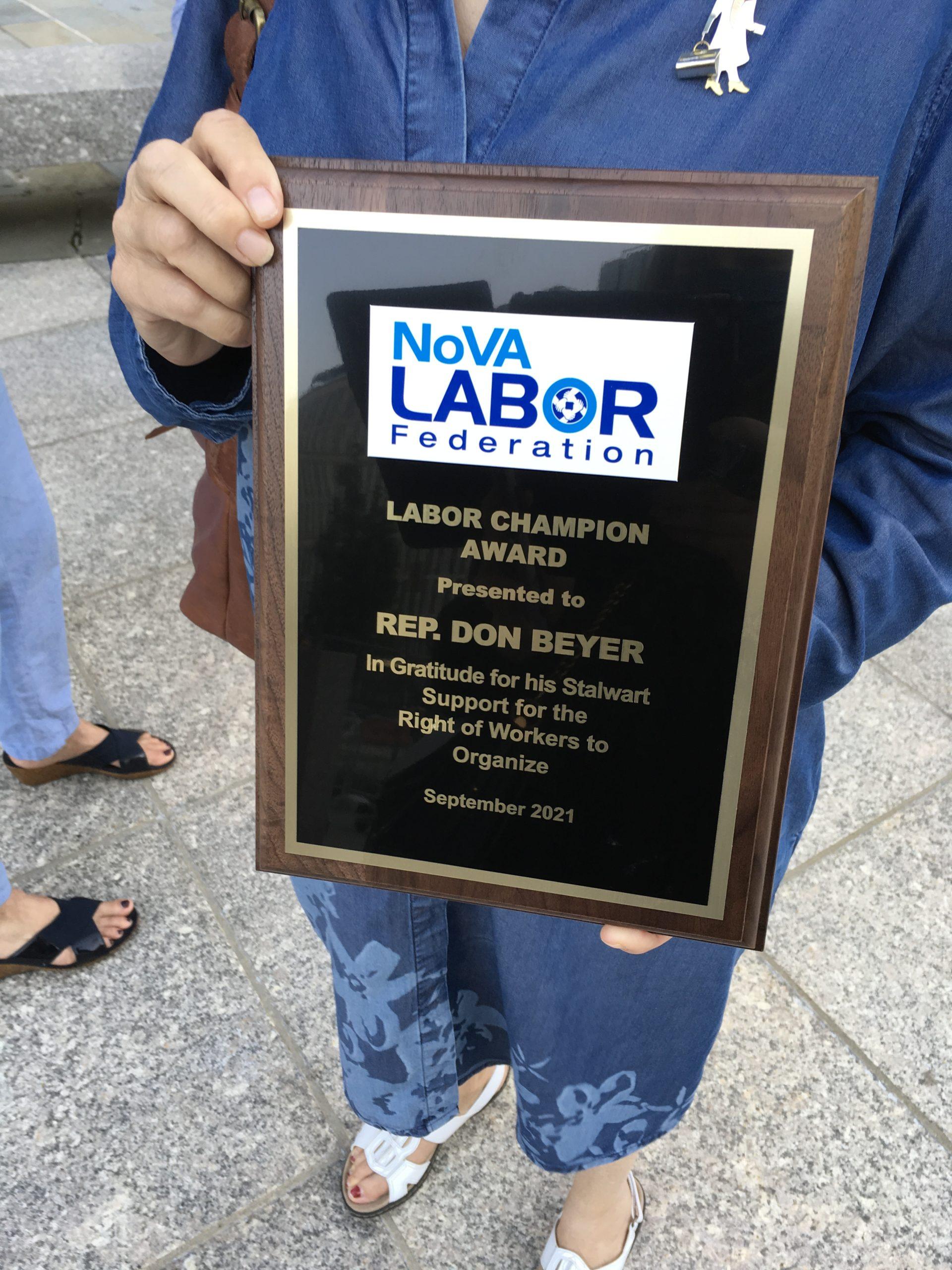 Virginia Diamond holding Award Prior to Ceremony