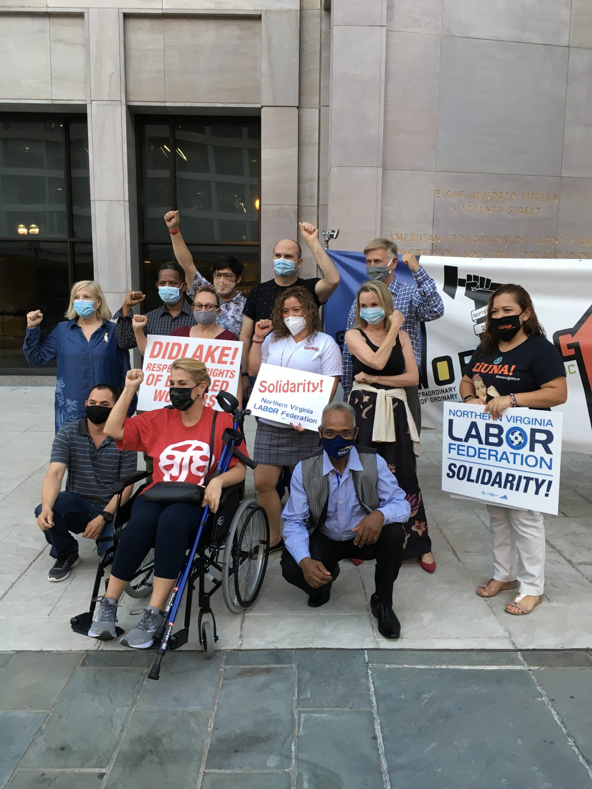 Virginia Diamond standing left in blue dress, Sara Nelson (wheelchair front) in red shirt, Don & Megan Beyer standing right back. Others present are workers with disabilities who work for Didlake corporation who are trying to unionize for equal wages. (Photo: Mary K. Leonard)