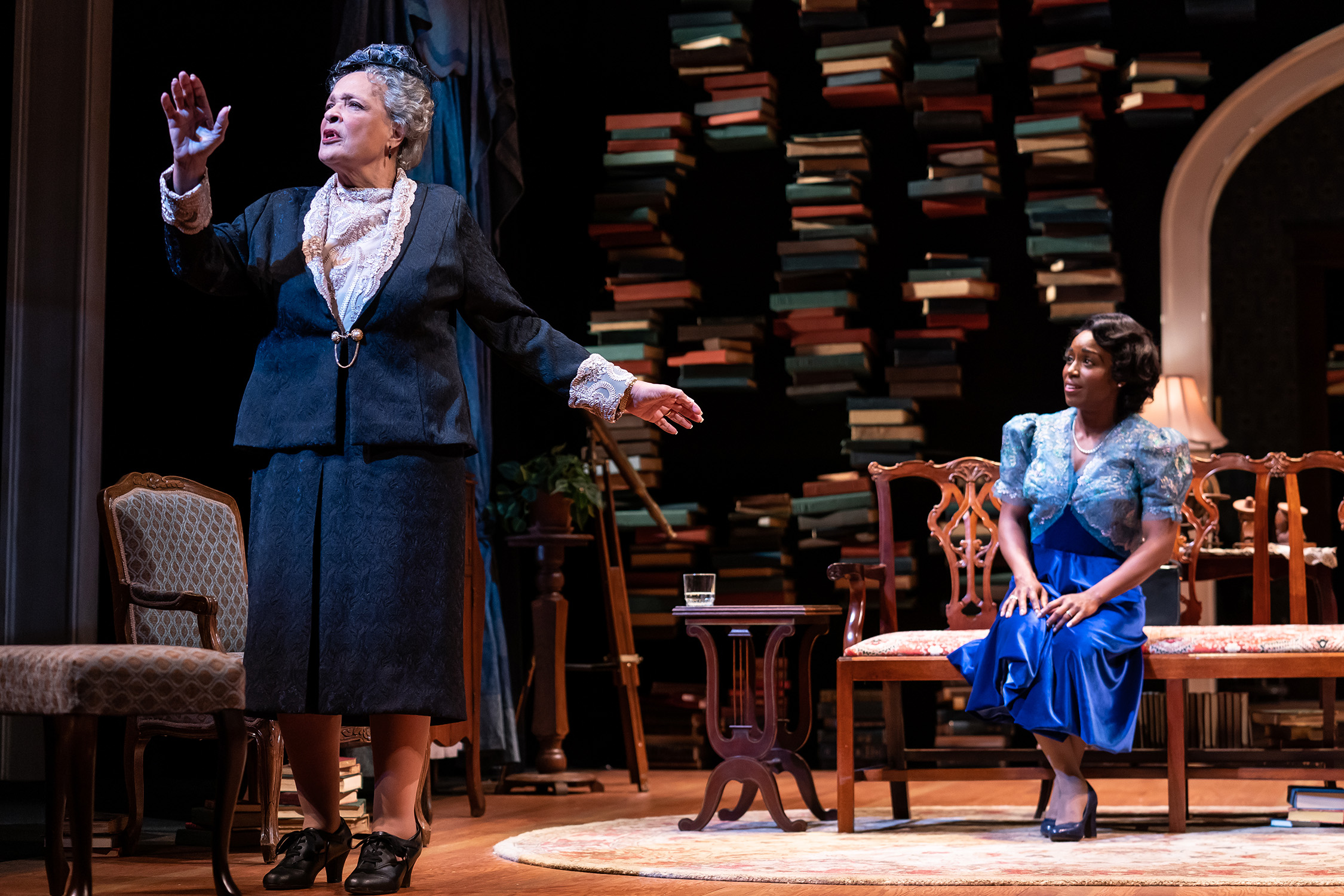"""Franchelle Steward Dorn as Mary Church Terrell and Felicia Curry as Marian Anderson in the Ford's Theatre production of Deborah Brevoort's """"My Lord, What a Night"""". (Photo by Scott Suchman)"""